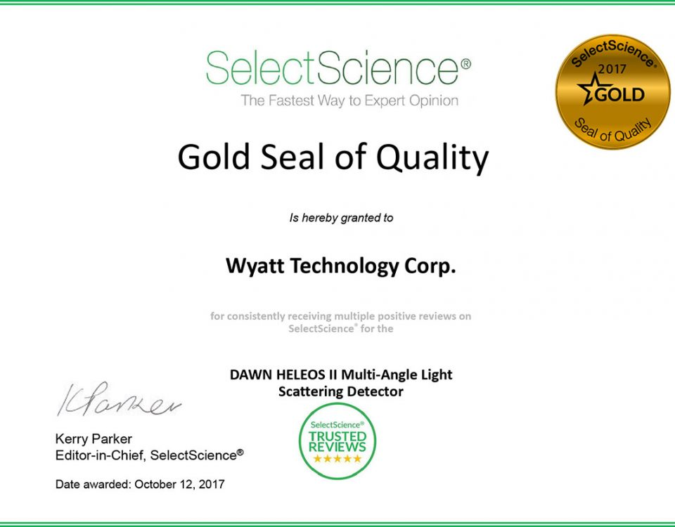 SelectScience Gold Seal of Quality Award