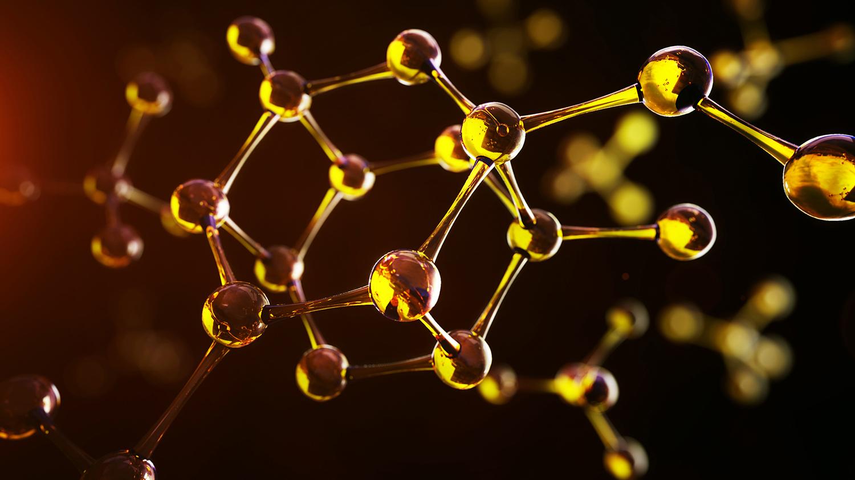 3d illustration of molecule model. Science background with molec